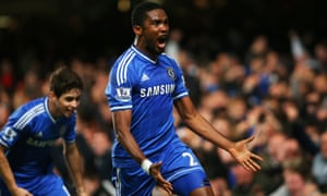 Samuel Eto'o of Chelsea celebrates.