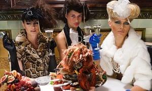 Glamorous women in a restaurant