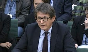 A video grab of Guardian editor Alan Rusbridger giving evidence to the home affairs select committee
