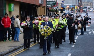 Floral tributes to Glasgow helicopter crash victims 3/12/13