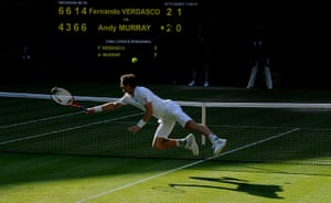 Tom Jenkins Pix of Year: Andy Murray dives on Wimbledon 2013 day nine