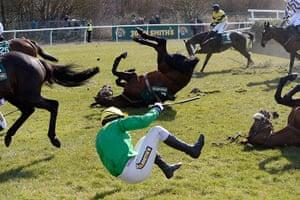 Tom Jenkins Pix of Year: Mr J.E.Tudor falls off Silverburn at Aintree