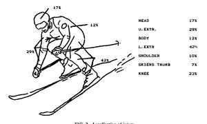 Diagram of ski injuries