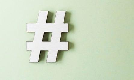 Hashtag symbol on white background
