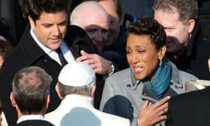 Robin Roberts meets Pope Francis earlier this month. The morning program broadcast live from Vatican City.