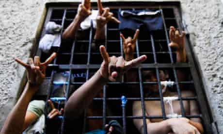 Suspected gang mebers in San Salvador jail 2012