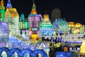 Large-scale ice sculptures at the Harbin ice and snow festival