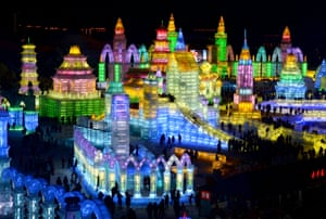 Night view of the Ice and Snow World in Harbin