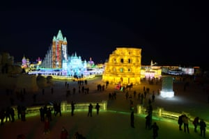 A night view of the Ice and Snow World in Harbin, China