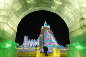 Large-scale ice sculptures in Harbin.
