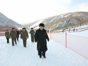 Kim Jong-un inspects a new ski resort in North Korea.