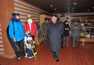 Kim Jong-un inspecting the Masik Pass Hotel, ski service and lodging buildings and rest areas.