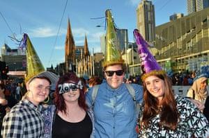 NYE in Australia: Revellers pose on Princes Bridge