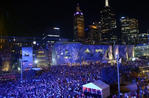NYE in Australia: Thousands attend a party at Federation Square in Melbourne