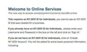 NY unemployment claim website