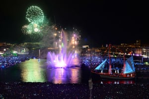 "Pyrotechnic show company ""Group F"" performs with fireworks in the Vieux Port (Old Port) of Marseille, southern France."