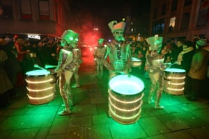 Spark drummers performing at the New Year's eve Winter Carnival in Newcastle city centre.