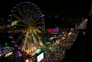 Edinburgh, Scotland: A view of the Hogmanay (New Year) street party celebrations.