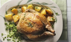 Pot-roasted chicken with olive stuffing