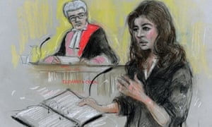Court artist of Nigella Lawson giving evidence at Isleworth Crown Court.