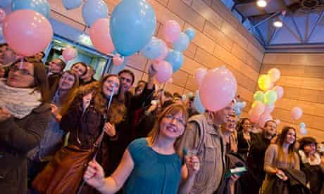 Conservative activists celebrate the results of the referendum to ban gay marriages in Croatia