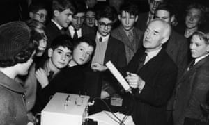 T E Allibone demonstrating a Geiger counter to children at a special lecture on Atomic Energy at the Royal Institution November 1959.