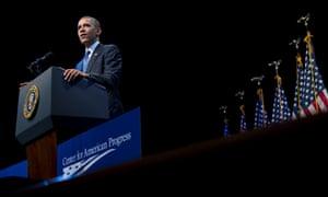 President Barack Obama speaks about the economy and growing economic inequality in Washington.