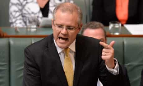 Immigration minister Scott Morrison makes a point during question time.