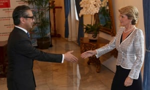 Foreign minister Julie Bishop is greeted by her Indonesian counterpart Marty Natalegawa.