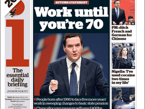 Independent front page, December 5 2013