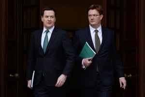 British Chancellor of the Exchequer, George Osborne  with Chief Secretary to the Treasury Danny Alexander depart the Treasury in London, central England, 05 December 2013.