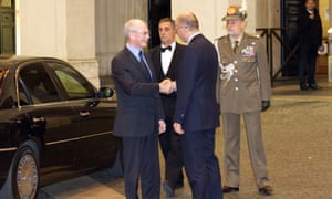 Italian Prime Minister Enrico Letta welcomes the President of the European Council Herman Van Rompuy in Rome yesterday. Photo: Igino Ceremigna/Demotix/Corbis