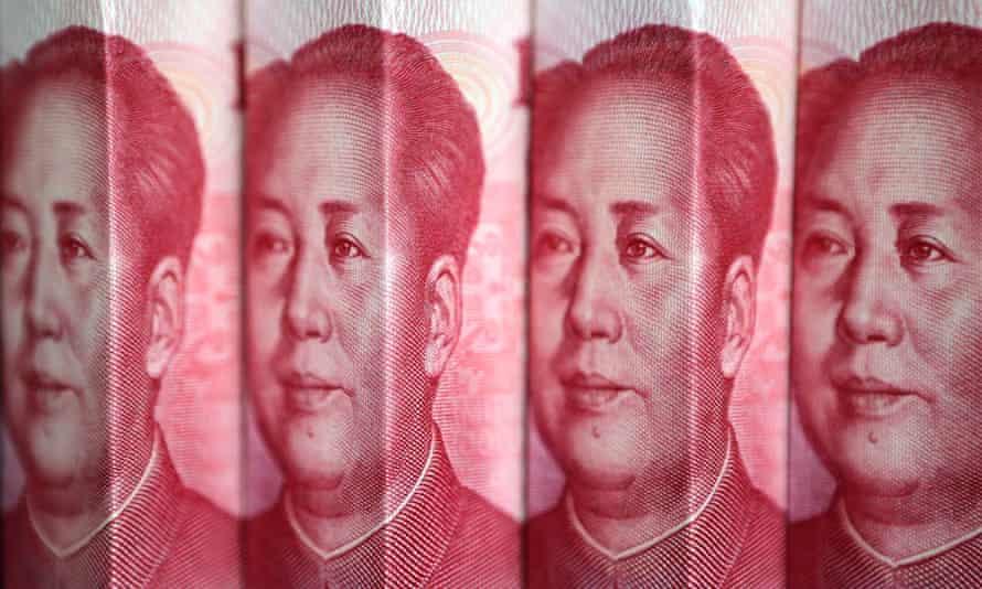 Chinese 100 yuan banknotes.