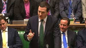 Britain's Chancellor of the Exchequer George Osborne (C) gestures as he delivers a budget update at Parliament in London December 5, 2013, in this still frame taken from video.