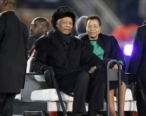 Nelson Mandela at the World Cup final match in Johannesburg, South Africa, 11 July 2010.