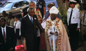 Nelson Mandela and Desmond Tutu in , South Africa on March 20, 1995.
