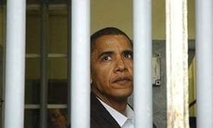 Barack Obama in Nelson Mandela's cell on Robben Island