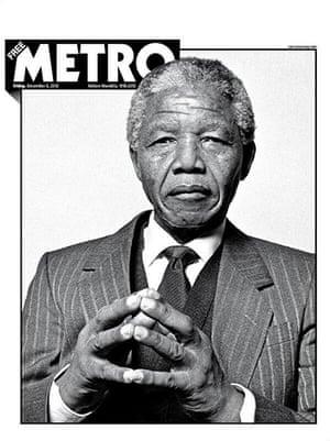 Mandela front pages: Mandela, Metro