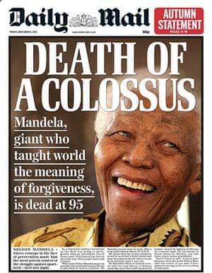 Mandela front pages: Daily Mail Mandela