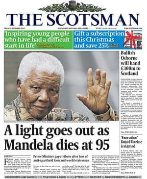 Mandela front pages: Mandela, the Scotsman