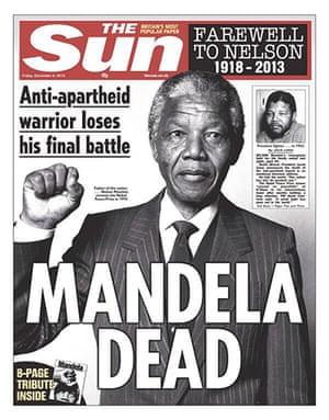 Mandela front pages: Mandela, the Sun
