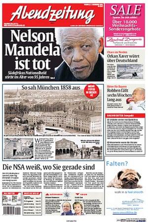 Mandela front pages: Mandela Abendzeitung