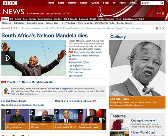 Nelson Mandela's death: the newspaper front pages – in