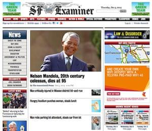 Mandela front pages: Mandela San Francisco Examiner