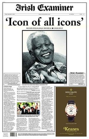 Mandela front pages: Mandela Irish Examiner