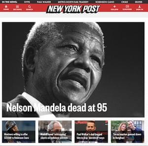 Mandela front pages: Mandela New York Post