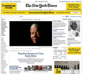 Mandela front pages: Mandela New York Times
