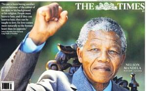 Mandela front pages: Mandela, the Times