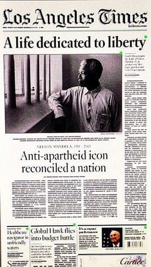 Mandela front pages: Los Angeles Times