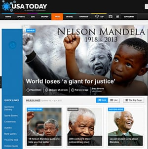 Mandela front pages: USA Today